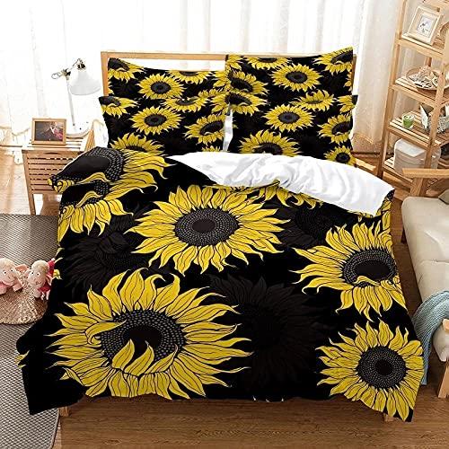 Funda Nordica Cama 135 Flor Negra Suave Funda de Edredón 200 x 200 Cierre de Cremallera + 2 Fundas de Almohada 50x80 para Adultos