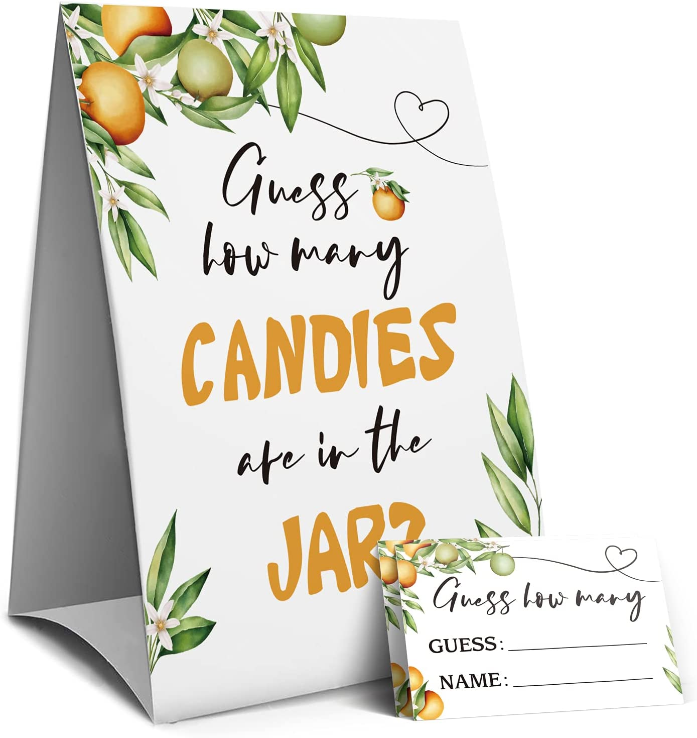 Orange Guess How Many Candies Are In The Jar, Christmas Party Game Sign,Baby Shower Game Sign, Bridal Shower Game Sign, Birthday Party Games Sign,Halloween Candies Guessing Game -1 Sign and 50 Guessing Cards(4A)
