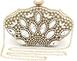 Fashion Crystal Rhinestones Luxury Banquet Handbags Female Hand-Set Inlaid Dinner Clutch Bag Chain Wedding Evening Gift Bag Gold Size: 21 * 6 * 12cm Fashion (Color : Gold)
