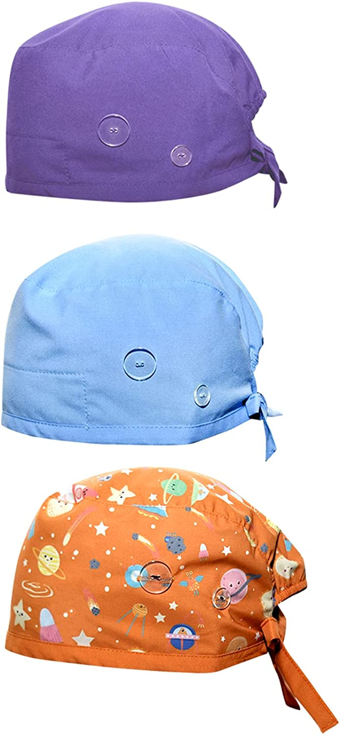 SLOTHEEZ - Working Cap with Button | Scrub Caps Suitable for Nurse, Gardening | Elastic Band and Adjustable Tie Back