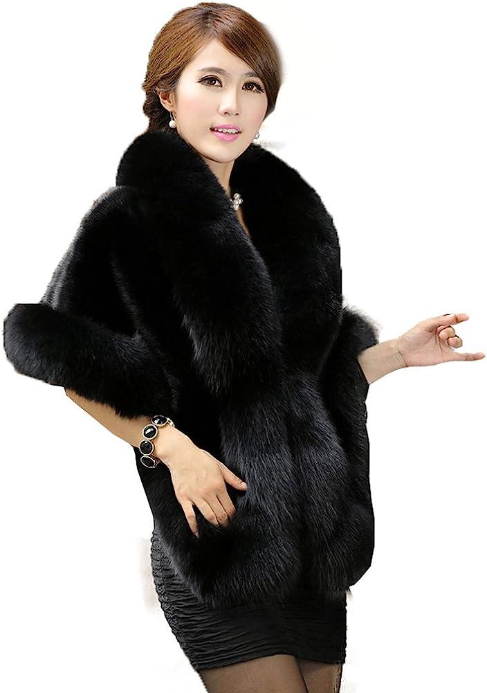 Caracilia Women's Faux Fur Coat Wedding Cloak Cape Shawl for Evening Party