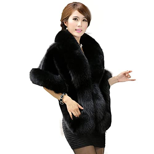 aa2cc8324958a Caracilia Women s Faux Fur Coat Wedding Cloak Cape Shawl for Evening Party