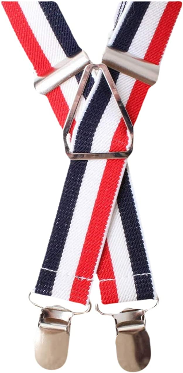 Knightsbridge Neckwear Mens MOD Stripe Clip Braces - Red/Blue/White