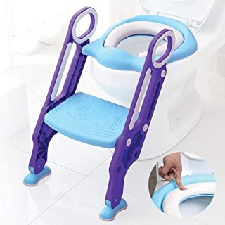 Baby Toddler Kids Potty Toilet Training Seat with Step Stool - Soft Cushion - Adjustable Footrest - Sturdy Design - Foldab...