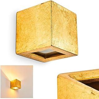 Aplique Noto de cerámica dorado, 1 x E27, máx 60 vatios con efecto Up & Down, con óptica de lámina de oro, adecuado para bombillas LED, ideal para salón