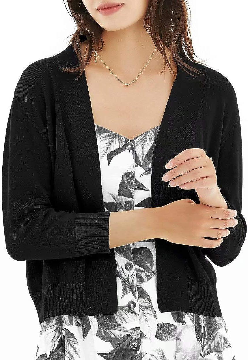 QUALFORT Women's 3/4 Sleeve Cropped Cardigan Sweaters Open Front Knit Short Bolero Shrugs