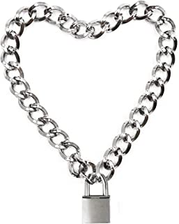 16inch Lover Heart Padlock Necklace Metal Padlock Collar Choker for Men Women with Lock and Key