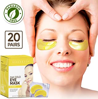 AsherKeep 24K Gold Eye Mask - Under Eye Patches For Puffy Eyes - Undereye Gel Pads For Dark Circles - Eye Bags Treatment with Collagen & Hyaluronic Acid - Nonslip Depuffing Masks For Women - 20 Pairs