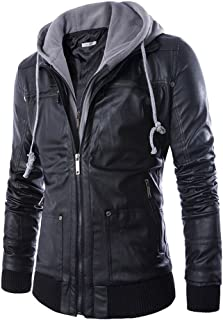Men's Slim Fit Racer Coat,Faux-Leather Moto Jackets with Removable Hood
