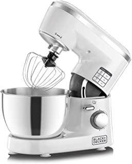 Black+Decker 1000W 6 Speed Stand Mixer with Stainless Steel Bowl, White/Silver - SM1000-B5