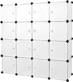 SONGMICS Armoire XXL, Meuble de rangement, Étagère modulable, 16 Cubes, Cadre en métal, pour Vêtements, Jouets, Sacs, Dime...