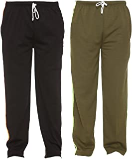 VIMAL JONNEY Multicolor Striped Cotton Blended Trackpants for Men (Pack of 2)-D6BLK_D6OLV_02-P