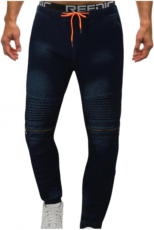 FUNEY Mens Jeans Stretch Denim Twill Jogger Pants Slim Elastic Waist Drawstring Vintage Washed Jean Pants with Zip Pockets