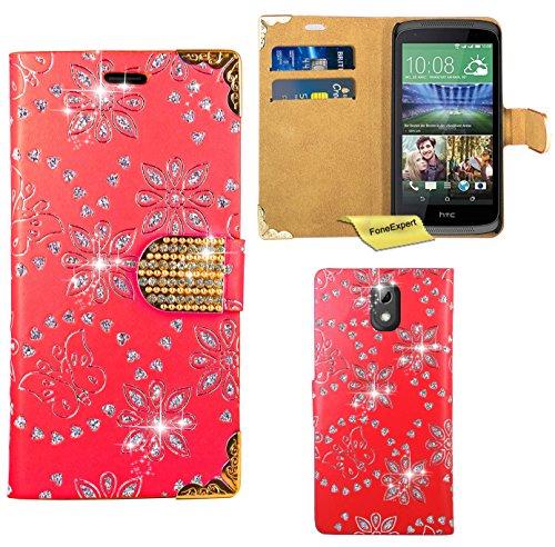 HTC Desire 526G Handy Tasche, FoneExpert® Bling Luxus Diamant Hülle Wallet Hülle Cover Hüllen Etui Ledertasche Premium Lederhülle Schutzhülle für HTC Desire 526G (Rot)