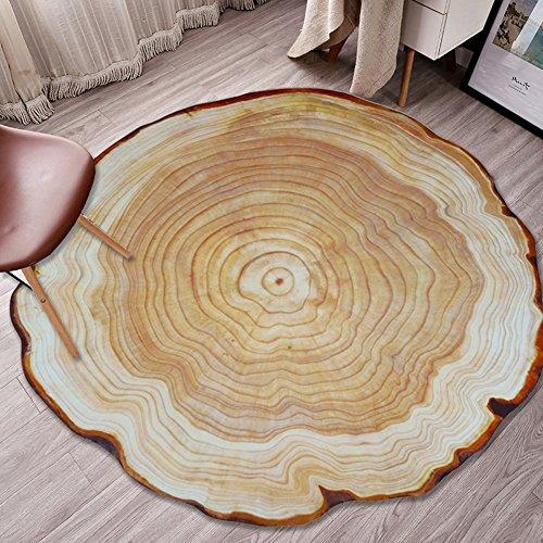 XLIGHT 3D Printed Annual Ring Teppich Runde geknackt Holz Teppiche Schlafzimmer Wohnzimmer Studie rutschfeste Teppich (Color : A, Size : 160 * 160CM)