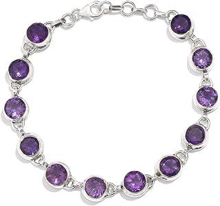 Christmas Gift ! Natural Amethyst Gemstone Bracelet Cut & Transparent Stone Boho Bracelet Handmade With Charm Bracelet 925...