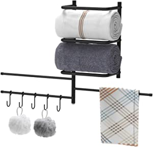 Towel Rack Holder&Organizer,Wall Mounted Metal Bathroom Towel Bar with 3 Swivel Arms 5 S-Hooks for Storage of Towels, Washcloths, Hand Towels