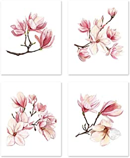 Magnolia wall art #A127 - Set of 4 (8x10) art prints. Magnolia poster tree.Pink flowers posters. Wall Decor Home Botanical Nature Prints Floral