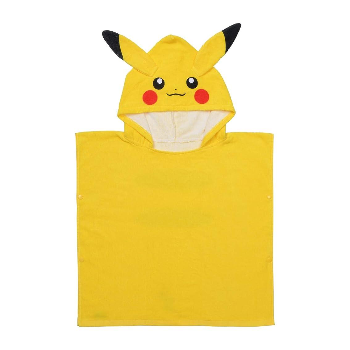 ストラップカストディアン絶縁するポケモンセンターオリジナル フード付きバスタオル Pokemon Leisure ピカチュウ KIDSサイズ