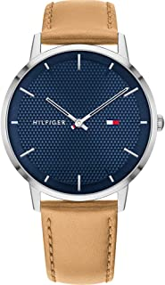 Tommy Hilfiger Mens Quartz Watch, Analog Display and Leather Strap 1791652