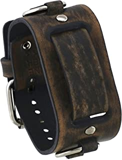 Nemesis #FRB-BV 39mm Wide 20mm Lug Width Distressed Brown Wide Leather Watch Cuff Band