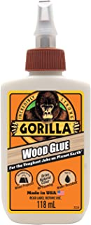 Gorilla Glue Wood Glue, Indoor & Outdoor Carpentry Projects, Paintable, Sandable, Moisture Resistant, Clamping, Natural Co...