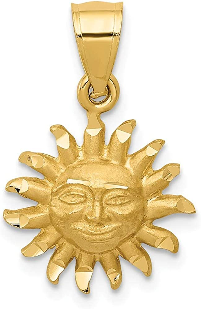 14k Yellow Gold Sun Pendant Charm Necklace Celestial Fine Jewelry For Women Gifts For Her