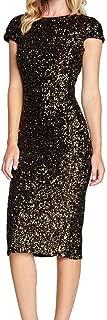 Women's Sequin Glitter Short Sleeve Dress Slim Fit Open Back Bodycon Sheath Party Dress Zulmuliu