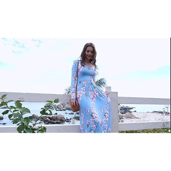 Loose Plain Empire Waist Maxi Dresses Casual Long Dresses with Pockets
