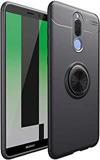 جراب لهاتف Huawei Mate 10 Lite، غطاء حماية كامل رفيع 360 درجة مع مسند مغناطيسي للسيارة باللون الأسود