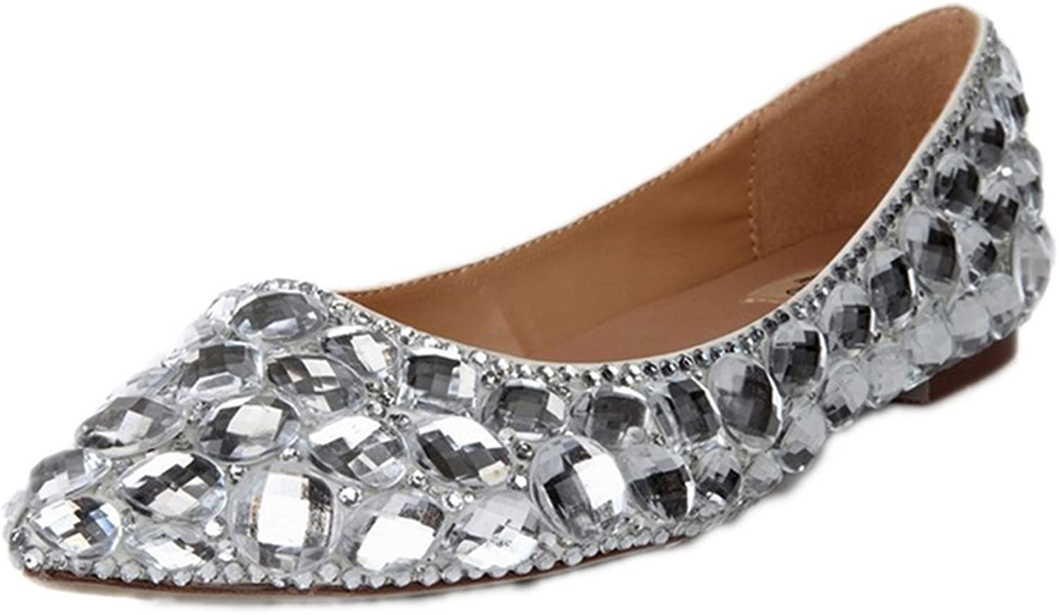 Lacitena Women's Diamond Pointed Flat shoes,Rhinestone Party Flats,Bride Wedding Party Flat shoes