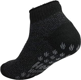 Heat Holders Thermal Ankle Non-Slip-Grip Winter Warm Slipper Socks UK 6-11 Black-Charcoal Twist