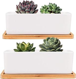 Danolt - Vaso per piante in ceramica bianca, 2 vasi rettangolari in ceramica con vassoio in bambù, con foro di drenaggio, ...