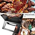 Snow Shop Everything Foldable, Portable Compact Charcoal Barbecue BBQ Grill Outdoor Camping Cooker Bars Smoker Combination Unit Black