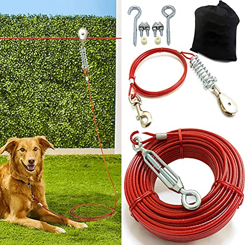 Heavy Duty Aerial Dog Tie Out Trolley System - Dog Run Cable 100ft /75ft /50ft Dog Zipline with 10ft Dog Runner Cable for Yard Camping Durable & Strong Tie Out for Small to Large Dogs Up to 125 lbs