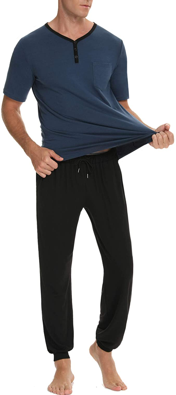 KINGBEGA Men's Cotton Sleepwear PJs Henley Shirts for Men Lounge Wear Top and Bottom Long Pajamas Set