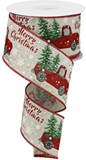 """Christmas Vintage Truck Wired Burlap Ribbon : Red Green Brown 2.5"""" X 10 Yards"""