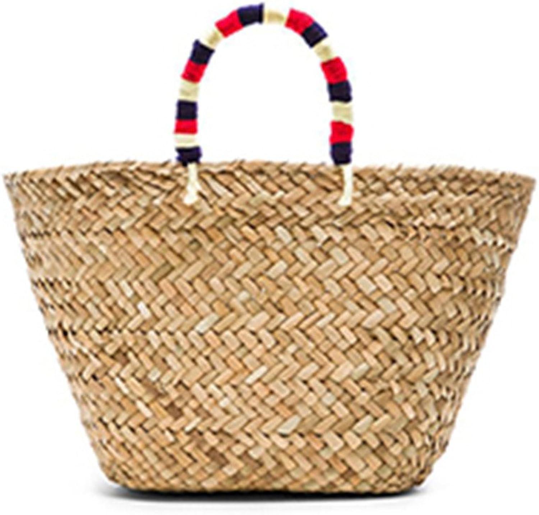 Manualdees Sommer Urlaub Handgemachte Rattan Taschen Frauen Weben Damen Stroh Tasche natürliche Wicker Strand Tasche Gewebt Totes Solid 23x14x24cm B07DWY4WWK  Optimaler Preis