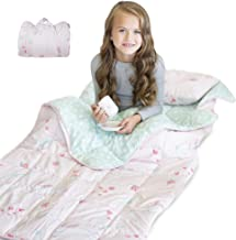 Life Tree Weighted Sleeping Bag for Kids - 5LB Cover, Perfect for Sleepover, Padded Base, Weighted Nap Mat, Removable Pillow | Kids Weighted Blanket Pink