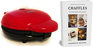 """Dash Express 8"""" Waffle Iron With The Best Keto Chaffle Recipe Book and Journal by Charmed By Dragons (8 Inch RED)"""