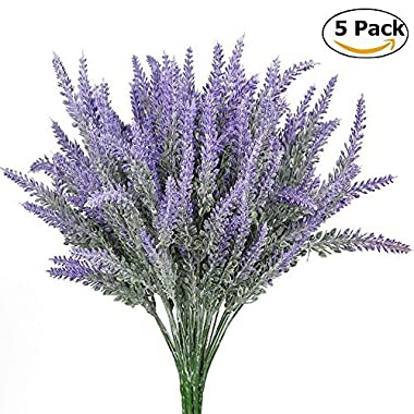 StillCool Artificial flowers 5 Pack Flocked Lavender Bouquet Real Touch Wedding Flower Plants for Party Room Home Hotel Event Decoration (Lavender)