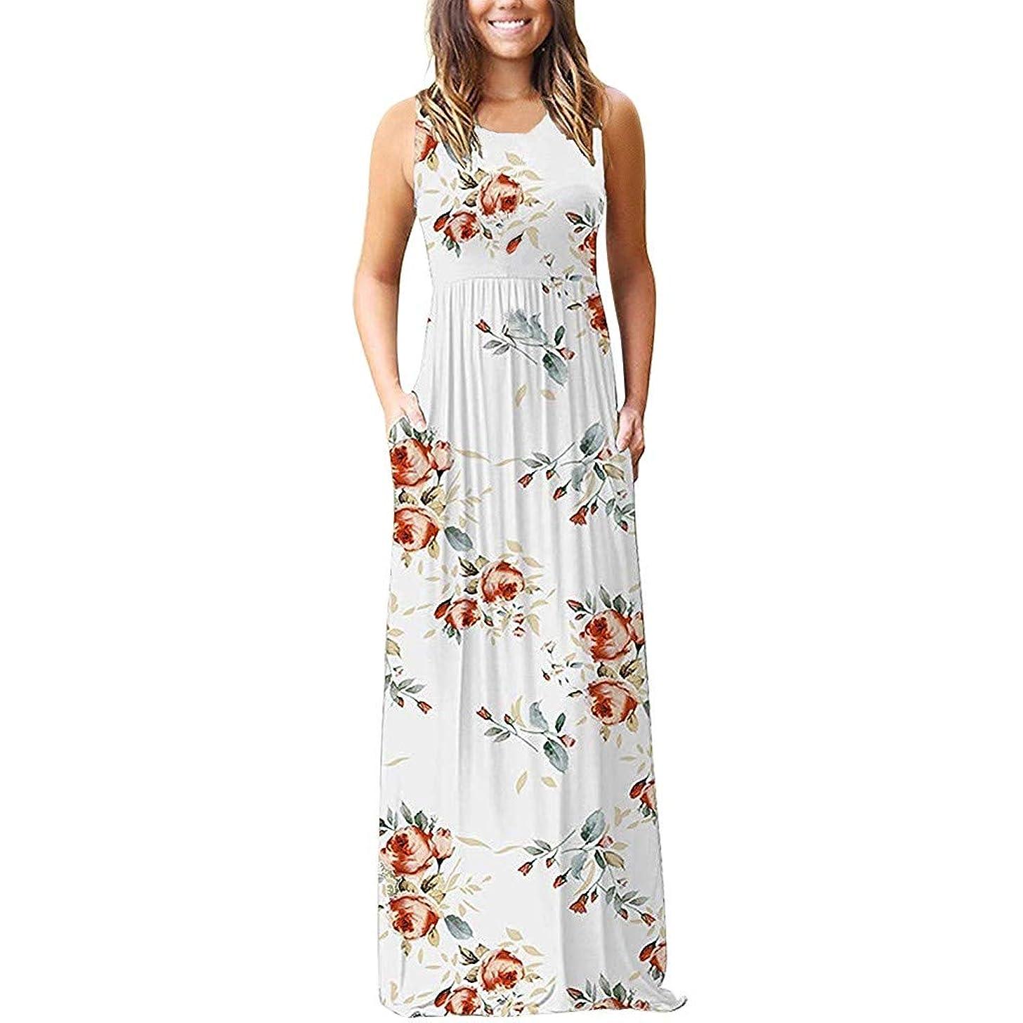 Women Sleeveless Racerback Maxi Dress Summer Casual Tank Top Print Loose Plain Holiday Long Dresses with Pockets
