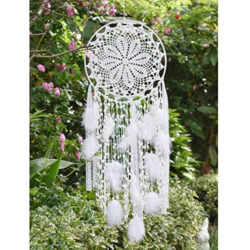 Grand attrape-rêves EasyBravo avec plumes blanches macramé à suspendre au mur pour décoration vintage de mariage ou maison - 80 cm de long Cercle de 30 cm de diamètre (blanc)