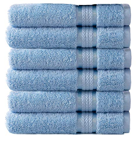 Cotton Craft - 6 Pack - Ultra Soft Extra Large Hand Towels 16x28 Light Blue - 100% Pure Ringspun Cotton - Luxurious Rayon trim - Ideal for Daily Use - Each Towel Weighs 6 Ounces