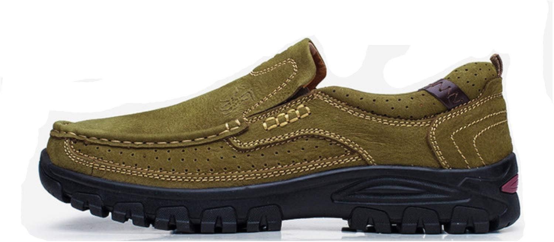 ZHRUI Outdoor-Schuhe für Männer aushöhlen weiche Sohle atmungsaktiv Echtleder Loafers (Farbe   Grün, Größe   EU 41)  | Starker Wert