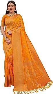 رداء حفلات 6203 مصنوع من حرير هندي للسيدات من تصميم Yellow Designer Indian Women Art Banarasi Silk Weaving Sari مع بلوزة ص...