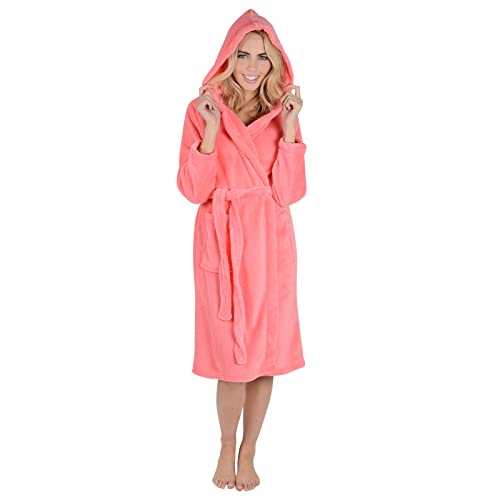 4f7314cf4876c Ladies Coral Fleece Super Soft Thick Luxurious Bath Robe With Hood Dressing  Gown Wrap Housecoat Bathrobe