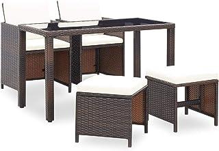 vidaXL Juego de Comedor de Jardín 5 Piezas Muebles de Exterior Mesa y Sillas Mobiliario de Patio Exterior Terraza y Poli Ratán Sintético Marrón Mimbre