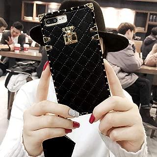 BABEMALL Compatible for iPhone 7 Plus/8 Plus Case, Elegant Diamond Luxury Metal Corner Square PU Leather Classic TPU Bumper Slim Anti-Scratch Case + Lanyard (Small Cube/Black)