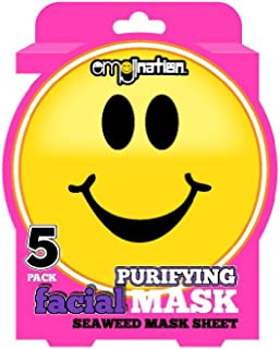 Emoji 5 Pack Purifying Facial Masks - Seaweed Infused Mask Sheets - Smiling Emoji Face